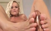 Blonde Slut Teases Her Feet And Masturbates