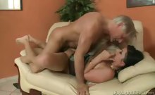 Sexy dark haired MILF gets fucked hard then gets cum facial