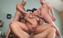 Black gal gets three white dicks and gets all holes filled