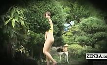 Subtitled ENF public Japanese sheer swimsuit challenge