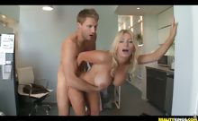 Ingrid gets her pussy pounded from behind as her huge tits