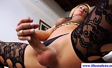 Amateur solo tranny tugging her cock