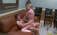 Hunter give blondie MILF Shawnie a taste of his cigar